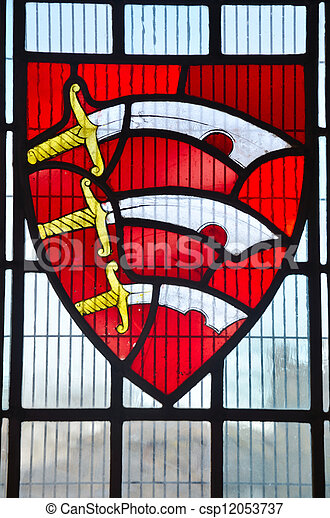 Seaxes in stained glass window - csp12053737