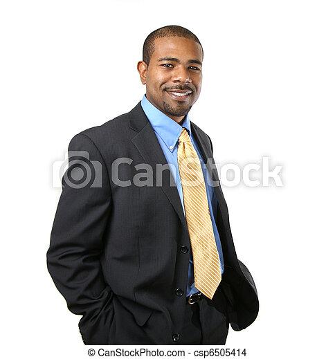sebejistý, americký, afričan, obchodník - csp6505414