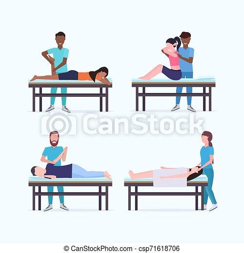 sebesült, fogalom, állhatatos, asztal, sport, fizikai, türelmes, elegyít, alkatrészek, bánásmód, therapists, test, tele, gyűjtés, terápia, gyógyulás, specialisták, masszőr, kézikönyv, hosszúság, faj, masszázs, masszázs - csp71618706
