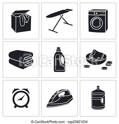 sec, ensemble, lessive, icônes, vecteur, nettoyage - csp23921234