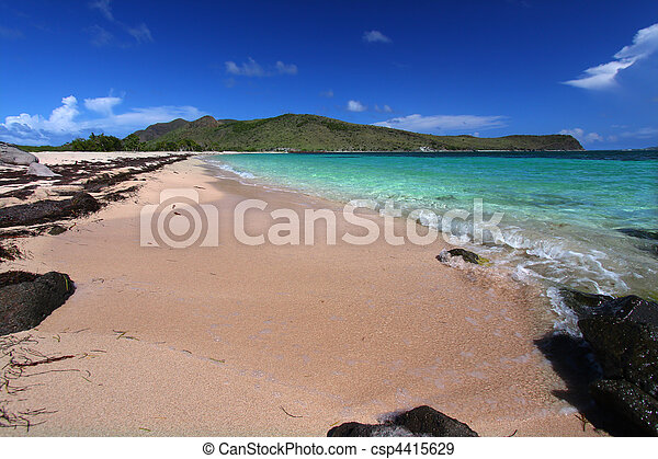 Secluded beach on Saint Kitts - csp4415629