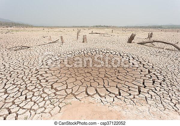 seco, agua, agrietado, tierra, sin - csp37122052