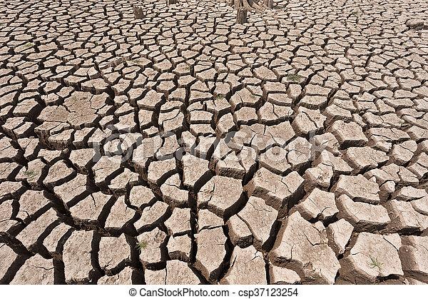 seco, agua, agrietado, tierra, sin - csp37123254