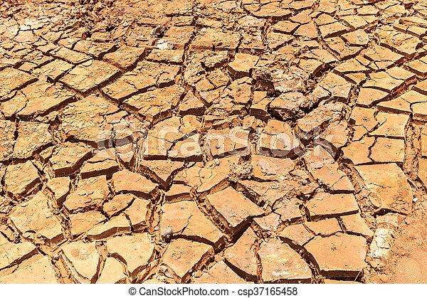 seco, agua, agrietado, tierra, sin - csp37165458