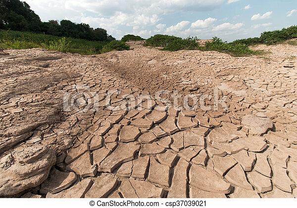 seco, agua, agrietado, tierra, sin - csp37039021