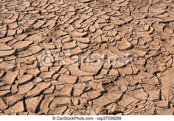 seco, agua, agrietado, tierra, sin - csp37039299