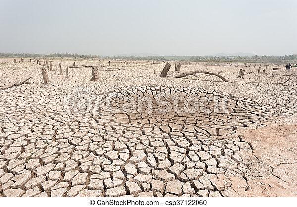 seco, agua, agrietado, tierra, sin - csp37122060