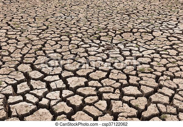 seco, agua, agrietado, tierra, sin - csp37122062