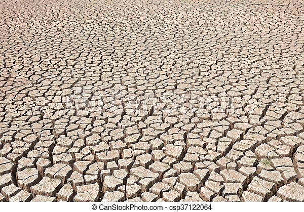 seco, agua, agrietado, tierra, sin - csp37122064