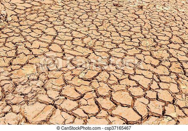 seco, agua, agrietado, tierra, sin - csp37165467