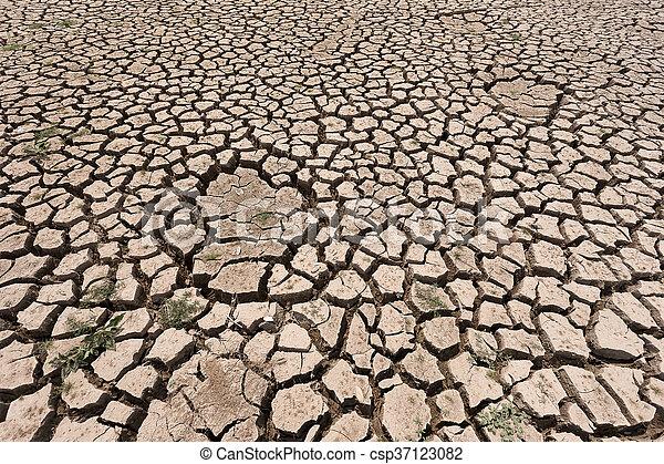 seco, agua, agrietado, tierra, sin - csp37123082