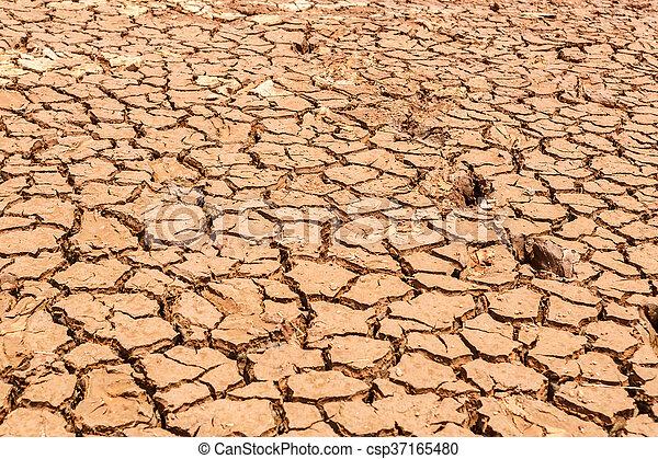 seco, agua, agrietado, tierra, sin - csp37165480