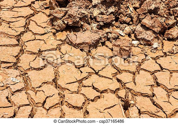 seco, agua, agrietado, tierra, sin - csp37165486
