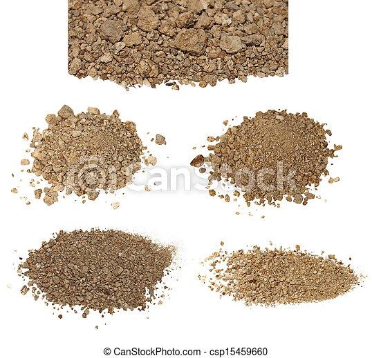 seco, conjunto, suciedad, aislado, pila, blanco - csp15459660