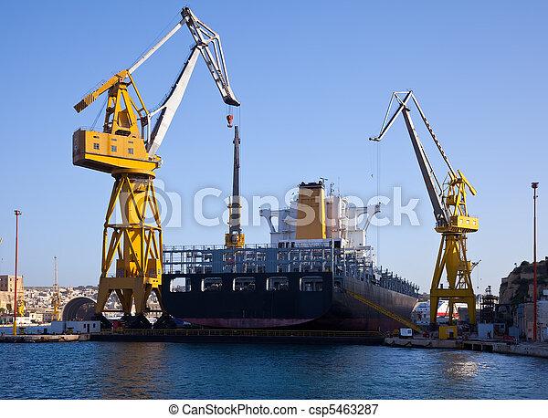 seco, grande, barco, muelle - csp5463287