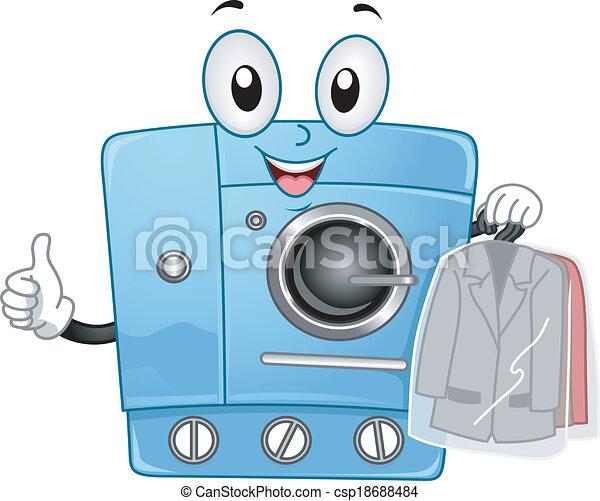 La mascota de la máquina limpia y seca - csp18688484