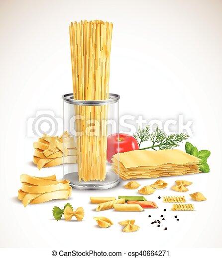 Pasta seca, hierbas variadas, póster realista - csp40664271