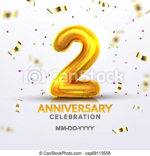 Second Anniversary Birth Celebration Number Vector - csp69113558