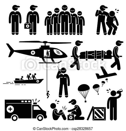 secours, urgence, figure, équipe, crosse - csp28328657