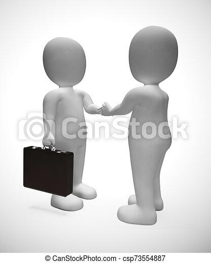 secousse, hommes affaires, accord, mains, -, affaire, 3d, illustration, ou - csp73554887