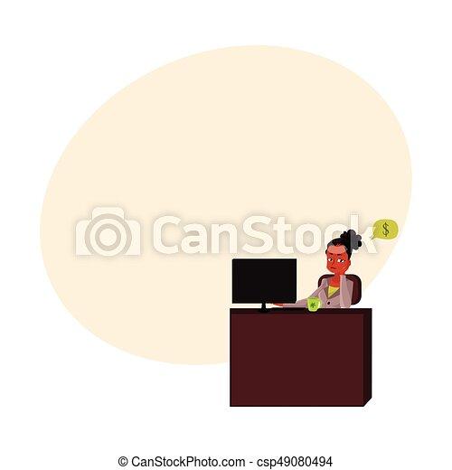secretária, escritório, sentando, pensando, dinheiro, jovem, executiva, escrivaninha - csp49080494