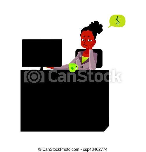 secretária, escritório, sentando, pensando, dinheiro, jovem, executiva, escrivaninha - csp48462774