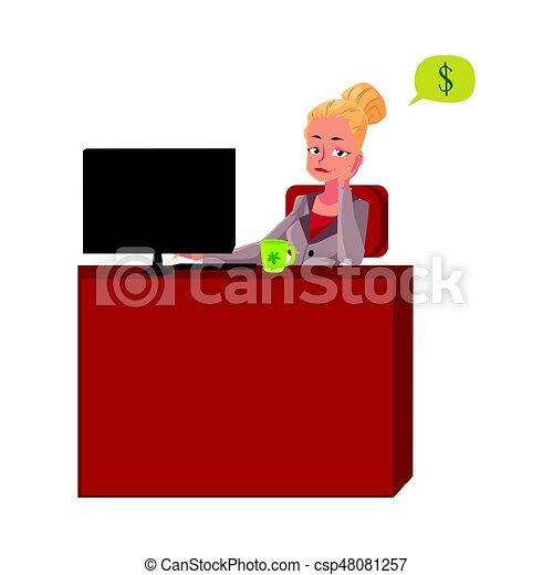 secretária, escritório, sentando, pensando, dinheiro, jovem, executiva, escrivaninha - csp48081257