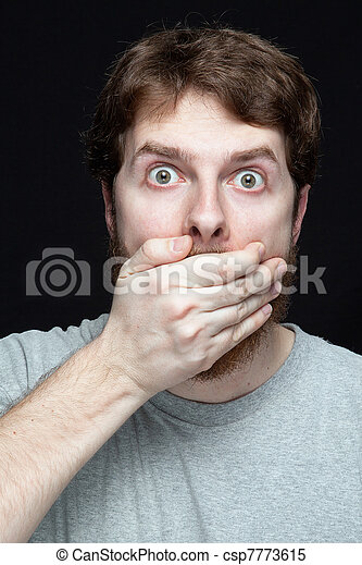 Secret concept - man amazed by gossip news - csp7773615