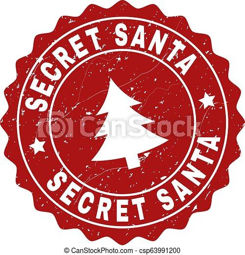 SECRET SANTA Grunge Stamp Seal with Fir-Tree - csp63991200