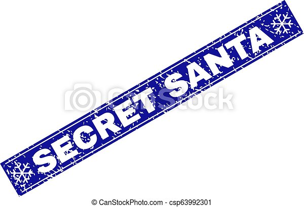 SECRET SANTA Scratched Rectangle Stamp Seal with Snowflakes - csp63992301