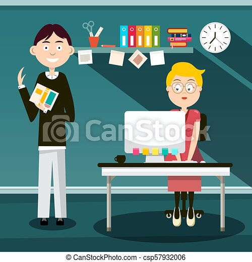 Secretary and Man with Book in Office - Vector Flat Design Cartoon - csp57932006