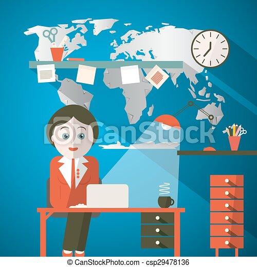 Secretary in office or presenter in studio with world map vectors secretary in office or presenter in studio with world map csp29478136 gumiabroncs Gallery