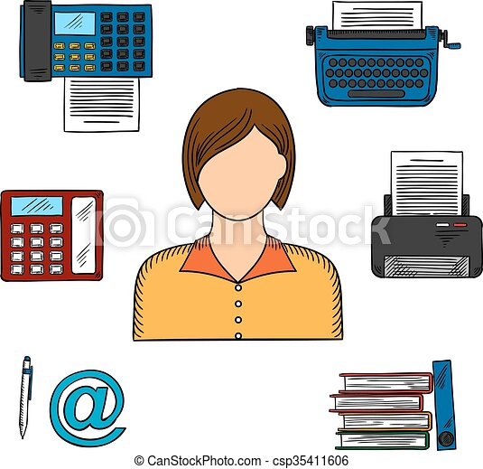 Secretary with office devices icons office worker or secretary secretary with office devices icons csp35411606 sciox Gallery