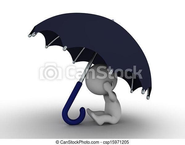Hombre 3D escondido bajo el paraguas - secu - csp15971205