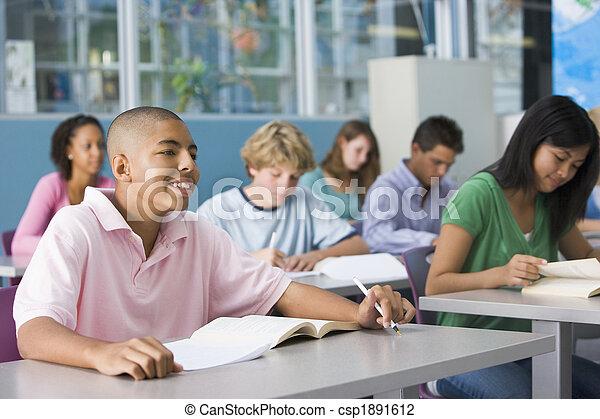 secundair onderwijs, stand, schooljongen - csp1891612