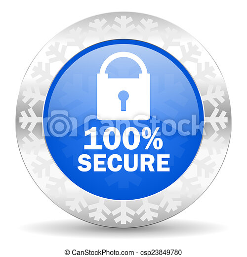 secure blue icon, christmas button - csp23849780