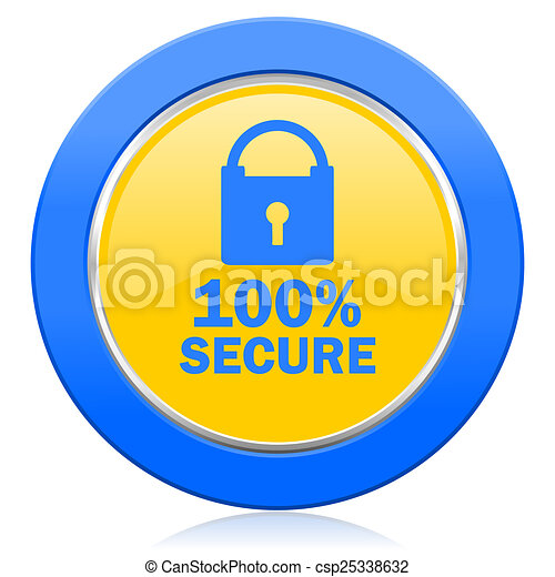 secure blue yellow icon - csp25338632