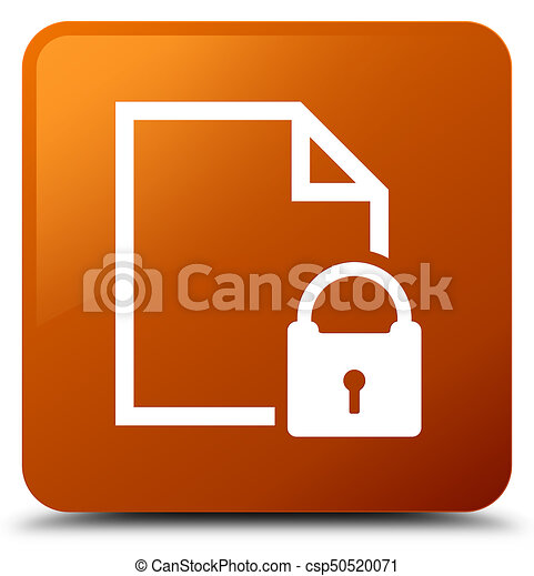 Secure document icon brown square button - csp50520071