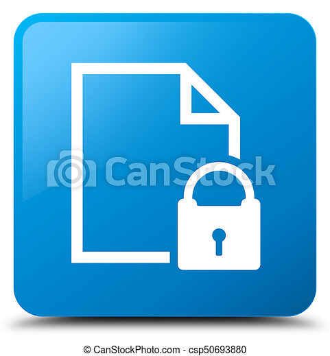 Secure document icon cyan blue square button - csp50693880