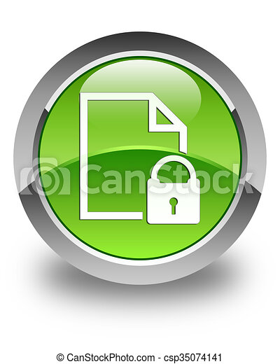 Secure document icon glossy green round button - csp35074141