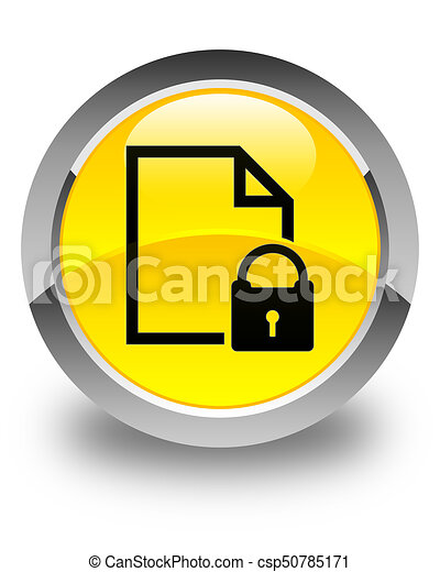 Secure document icon glossy yellow round button - csp50785171