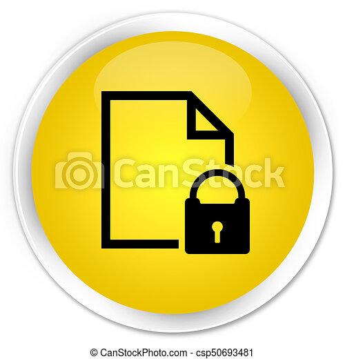 Secure document icon premium yellow round button - csp50693481