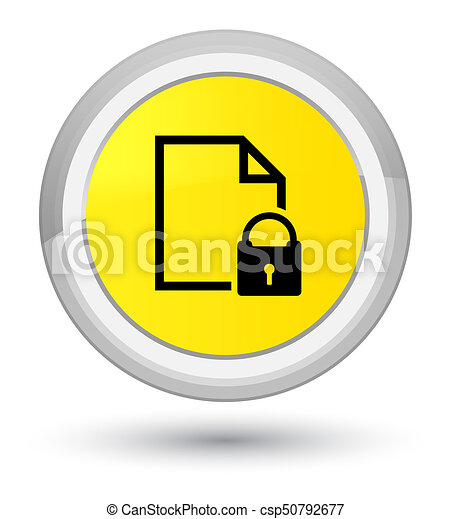 Secure document icon prime yellow round button - csp50792677