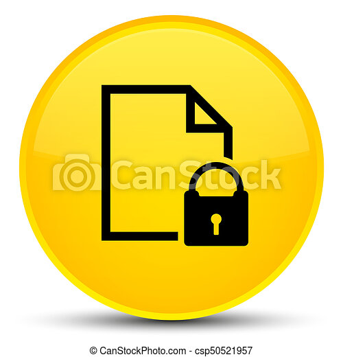 Secure document icon special yellow round button - csp50521957