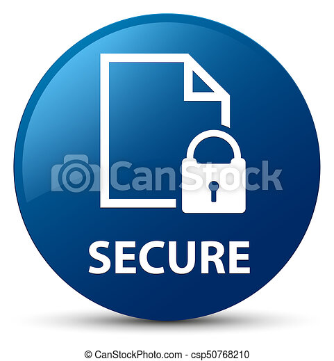 Secure (document page padlock icon) blue round button - csp50768210