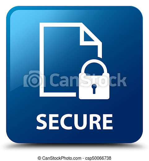 Secure (document page padlock icon) blue square button - csp50066738