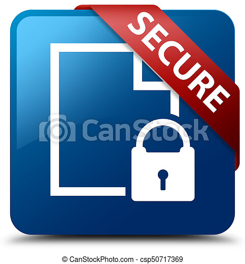 Secure (document page padlock icon) blue square button red ribbon in corner - csp50717369