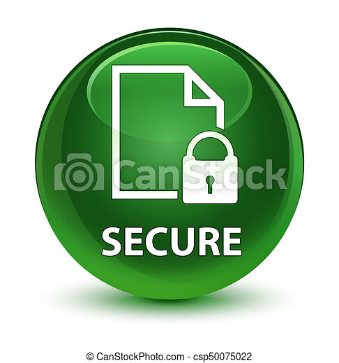 Secure (document page padlock icon) glassy soft green round button - csp50075022