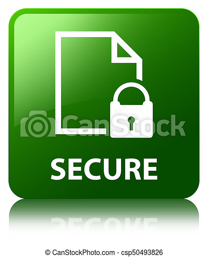 Secure (document page padlock icon) green square button - csp50493826
