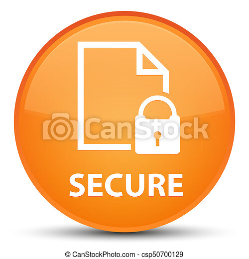 Secure (document page padlock icon) special orange round button - csp50700129